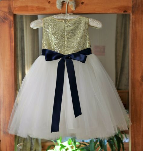 8 years White Black Ivory Red Sequin Mesh Flower girl dress Sizes 12-18 months