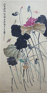 Excellent-Chinese-100-Handed-Painting-amp-Scroll-034-Lotus-034-By-Qi-baishi-AW6