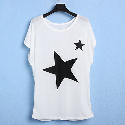 Womens Star Print Loose Tops Batwing Dolman Short Sleeve T Shirt Oversize Blouse
