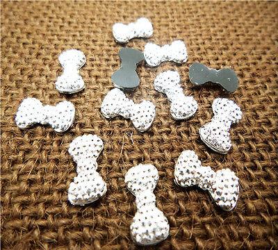 NEW DIY 100PCS 12MM silver bow-knot resin Scrapbook Craft Flatback Beads PICK U