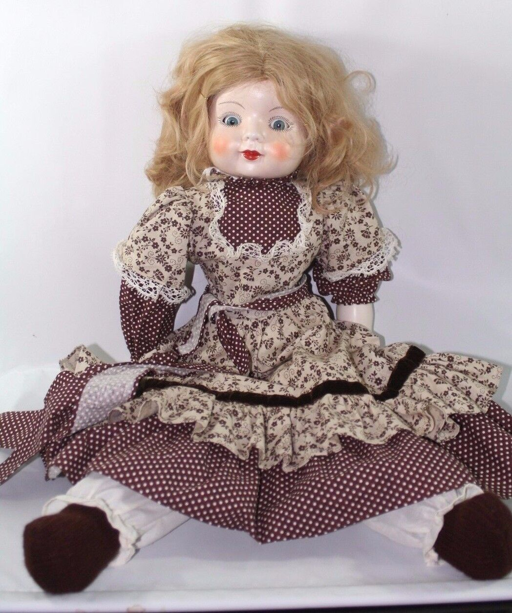 Vintage 26  Doll Porcelain Head & Arms Movable Eyes Cloth Body and Legs Blonde