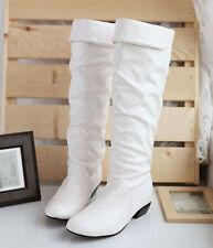 Women Half Knee High Long Boots Winter Handmade Ladies Flat Heels Boot Shoes