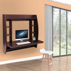 Floating Computer Desk wall mount floating desk computer desk w/ storage home bedroom