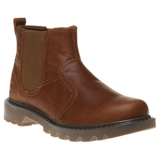 New Mens Caterpillar Tan Thornberry Leather Boots Chelsea Elasticated Pull On
