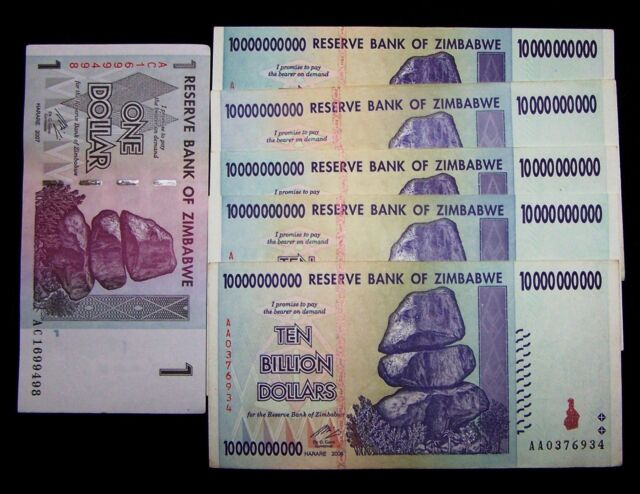 6 Zimbabwe Banknotes 5 X 10 Billion Dollars 1 Dollar Currency