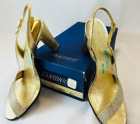 Vintage designer shoes rhinestone heels Dantonio New York 8 1 2 Clear Hollywood