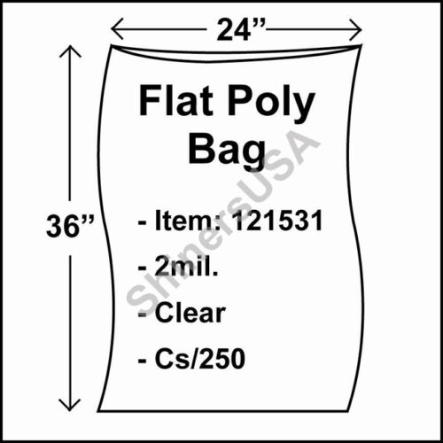 250 2-Mil 24x36 Clear Poly Bag Open Top Lay Flat Packaging 121531