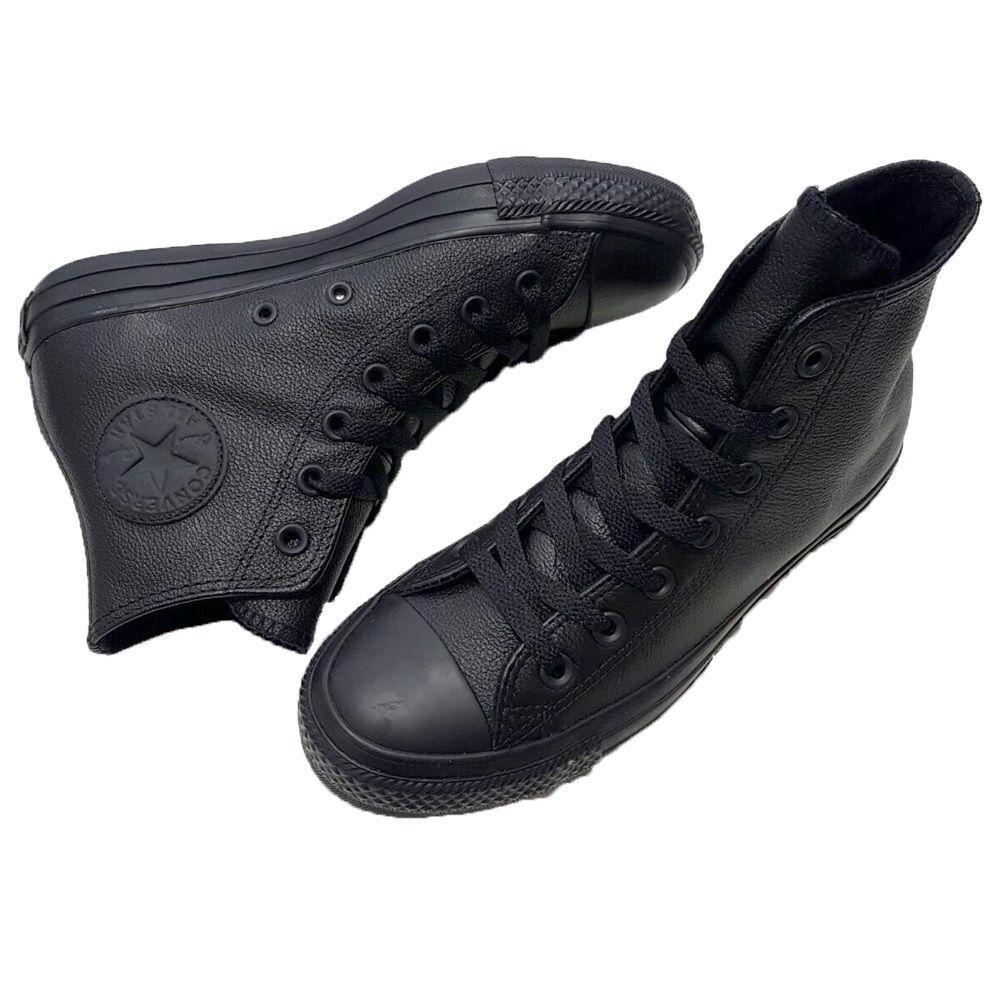 e1349840ba1df 135251C Trainers Leather Mono Black Hi Leather Star All Converse ...