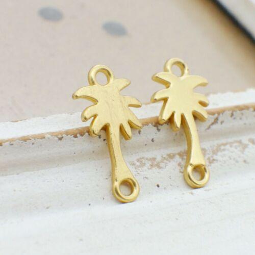 NELLYS 2 Verbinder gold matt ca 25x13mm Palme Schmuckverbinder Metallperlen