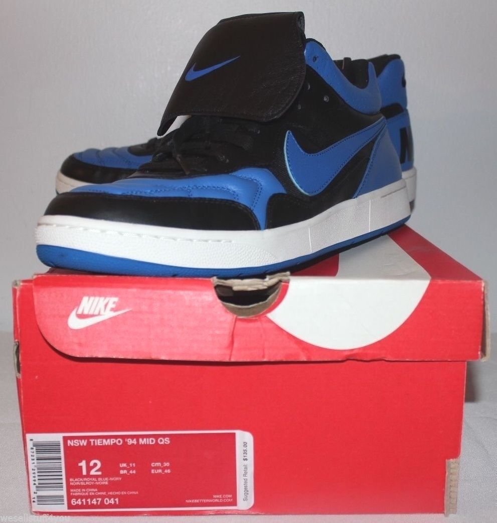 Nike Air NSW Tiempo '94 Mid QS Royal bluee Black Sneakers Mens Size 12 Brand New
