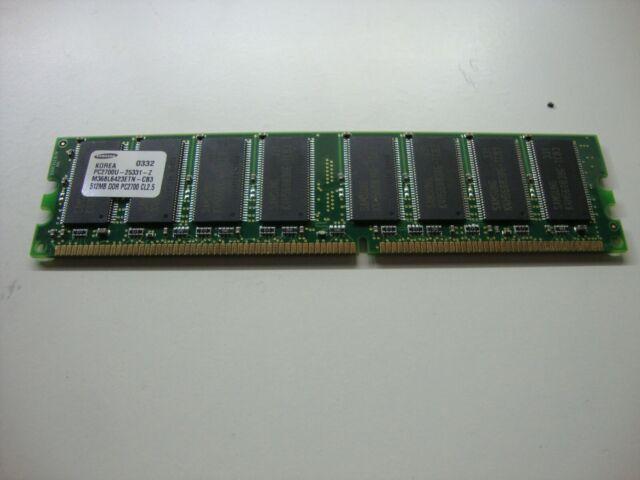 512MB RAM Samsung M368l6423ftn-cb3 184-pin Ddr1 Pc-2700u 333mhz Cl2.5