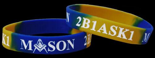Set of 2 Mason Masonic PHA 2B1 Ask1 Silicone Bracelets
