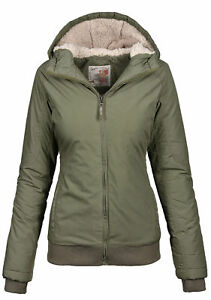Urban-Surface-warme-Damen-Winter-Jacke-Parka-Winterjacke-kurz-Teddyfell-B506