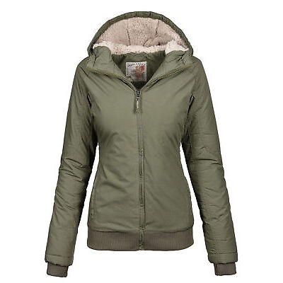 Urban Surface warme Damen Winter Jacke Parka Winterjacke kurz Teddyfell B506