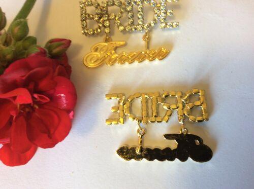 BRIDE forever Vintage Crystal Rhinestone Pin 14x40mm CRAFT REPAIR Post Free