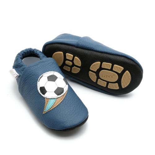 #658 Fußball in blau Liya/'s Babyschuhe Hausschuhe Lederpuschen Lauflernschuhe