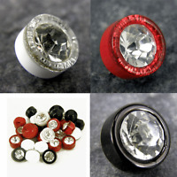 8/10 10/12mm CLEAR Faceted Cut Glass Crystal Diamante Rhinestone Silver Buttons