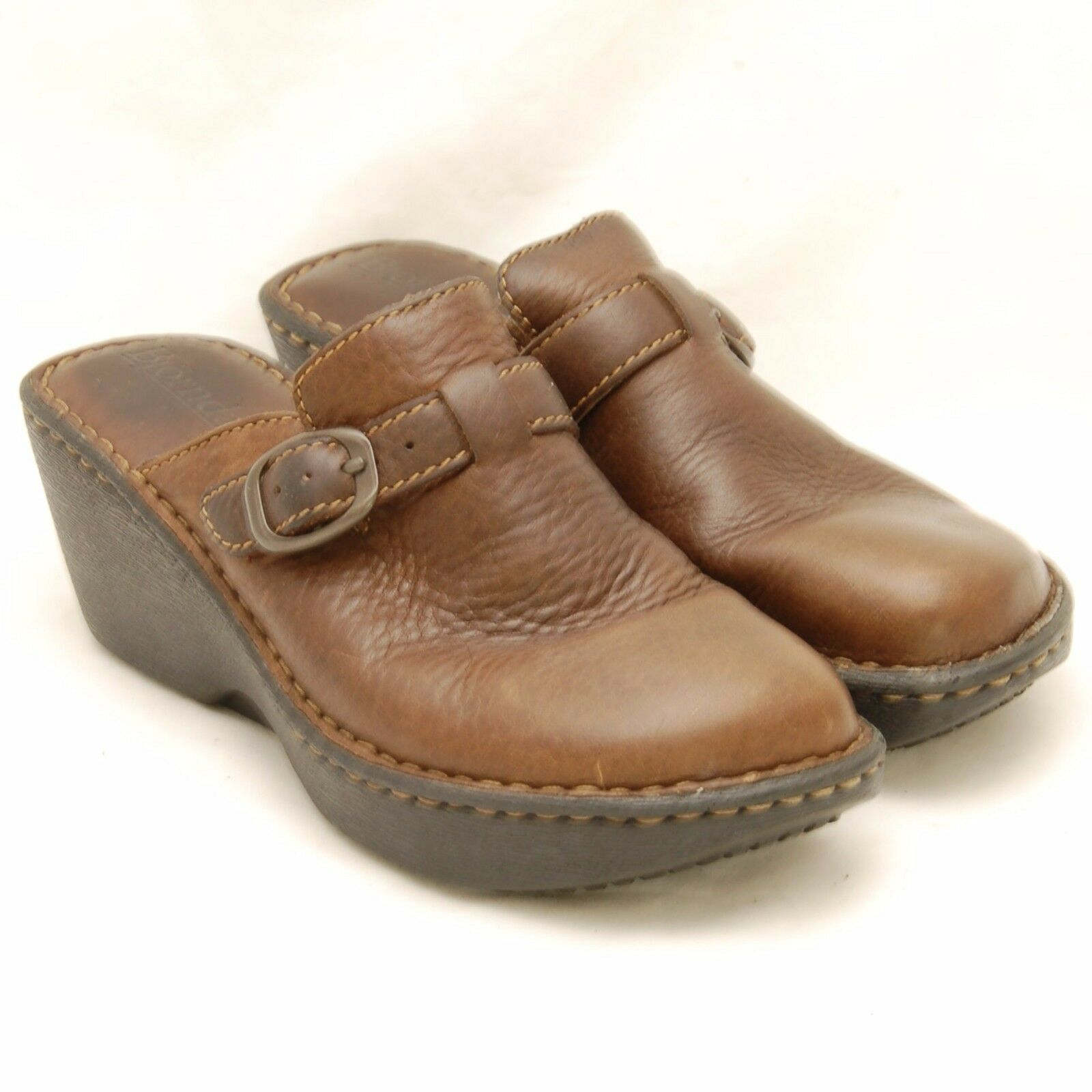 Bjorndal Explore Brown Leather M Clogs Women's Size 8 M Leather Slip On Buckle Shoes 61bff9