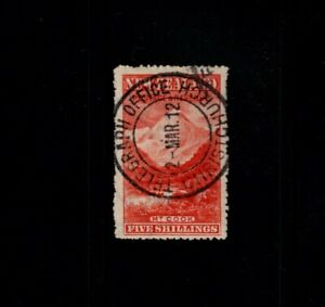 NEW-ZEALAND-MT-Cook-5-Five-shilling-1898-issued-pictorial-Christchurch-cancel