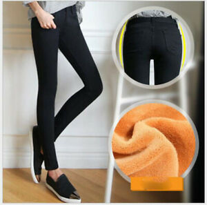 NEW-Fashion-Women-Winter-Warm-Thick-Skinny-Stretchy-jean-Pants-Casual-Leggings