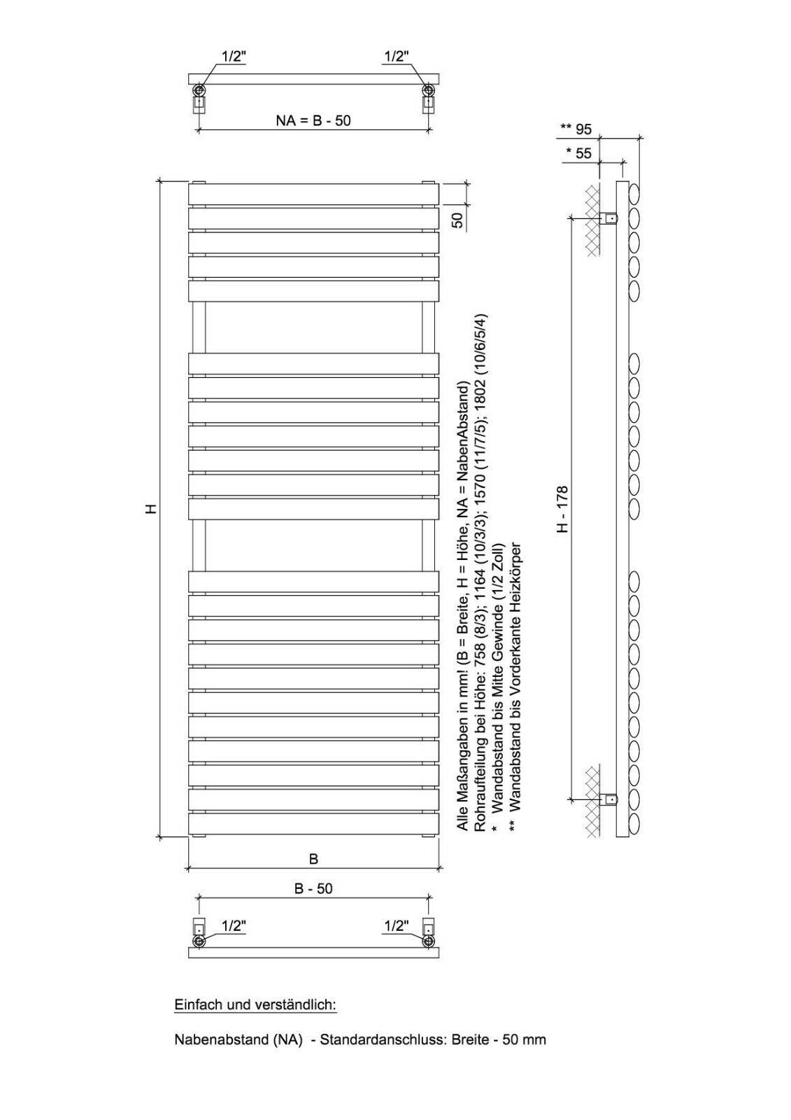 Ximax Design-Heizkörper Bad-Heizkörper Handtuchwärmer Handtuchwärmer Handtuchwärmer Nestor 646W 652269