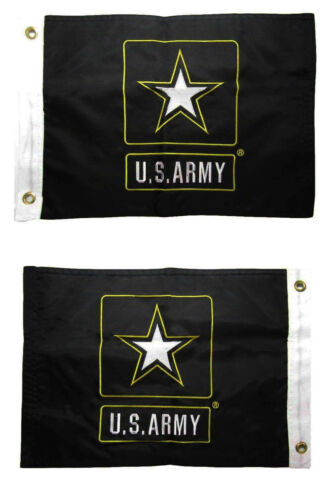 """Army Star Double Sided 2ply 220D Nylon 12/""""x18/"""" Grommets 12x18 Embroidered U.S"""