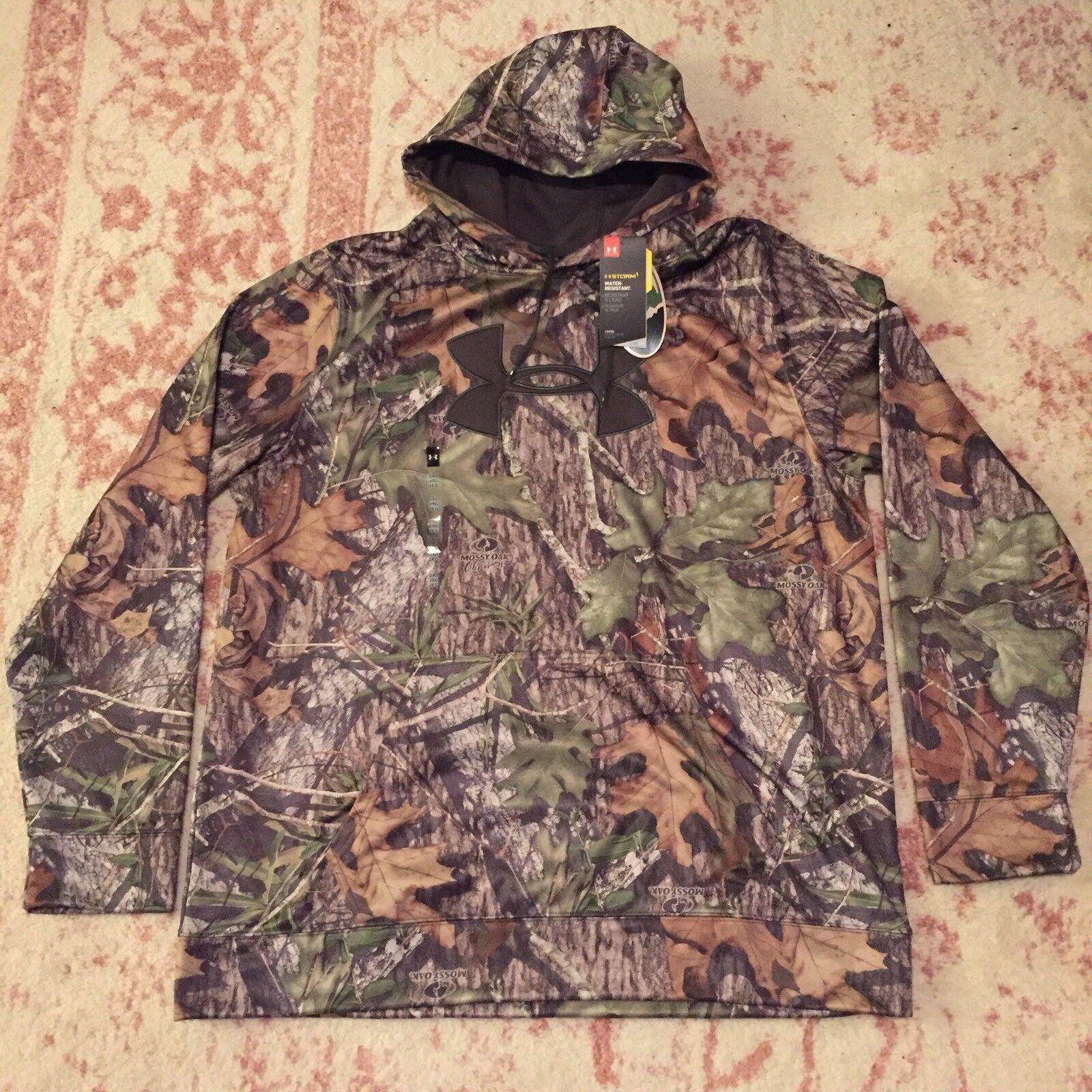 2XL UNDER ARMOUR HOODIE Sweatshirt CAMO MOSSY OAK Storm 1 XXL Real Tree Hunting