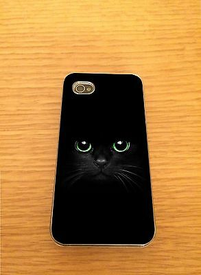 Black Cat Iphone Hard Case Cover - Fits 4,4s,5,5s,5c,6,6+  Green Eyes