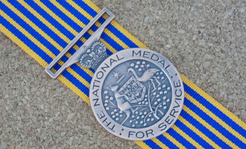 NATIONAL MEDAL WITH 15CM RIBBON EXCELLENT REPRODUCTION EMERGENCE SERVICES
