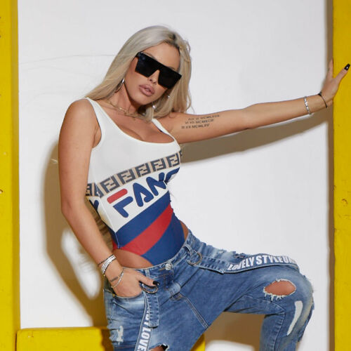 By Alina Mexton Damen Body Bodie Bodysuit Badeanzug T-Shirt Top Trägertop XS-M