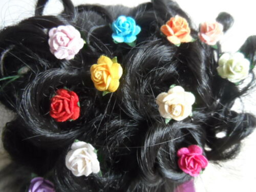 6 Rose Pelo Pins Grips Flor Boda Dama Accesorios 20 mm de tamaño
