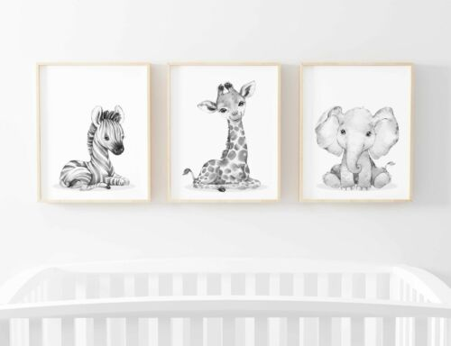 Animal Safari Children/'s TRIO Lot de 3 photos Nursery Imprimer Cadeau non encadrés