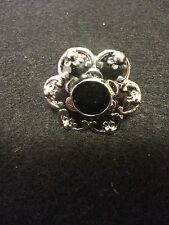 One Tibet Silver Enamel Crystal Adjustable Ring - Black Floral