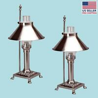 2 Table Lamp Silvertone Brass Lamp 20h   Renovator's Supply on sale