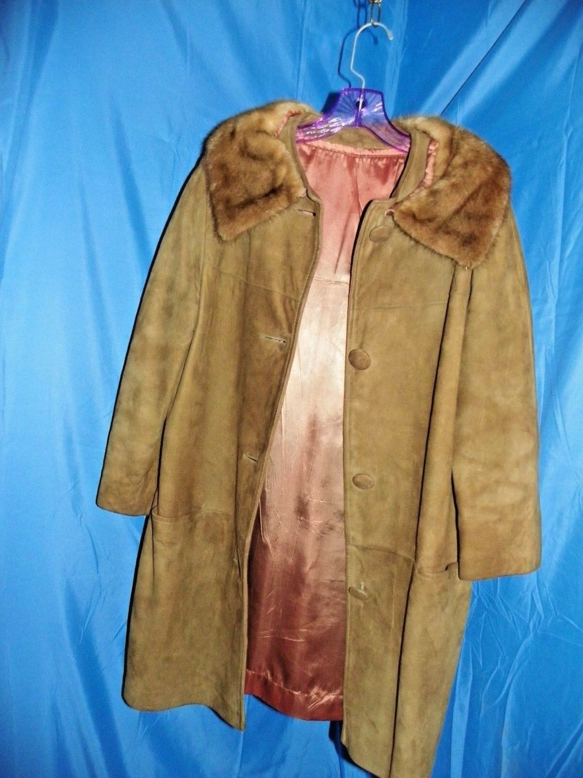 BROWN LEATHER FUR LINED BUTTON FRONT WOMEN'S COAT SIZE 8