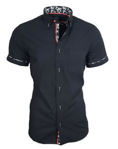 BINDER-de-LUXE-Chemise-Shirt-Poitrine-Sac-manches-courtes-82907-Noir