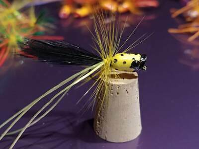 One Orange//Black Cupped Panfish Popper Fly Trout Bass Panfish Flies Size 8