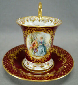 Dresden Hand Painted Courting Couple Red Maroon & Raised Gold Chocolate Cup
