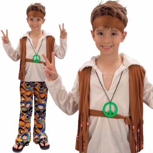 Kids Boys 60s 70s Groovy Hippy Hippie Disco Fancy Dress Costume Outfit New