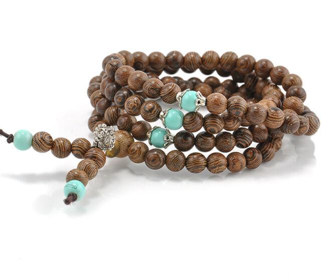 Sandalwood Buddhist Buddha Meditation 108 Prayer Bead Mala Bracelet Necklace