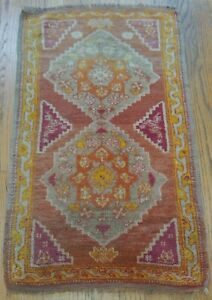 Antique 1880s Oushak Turkish Hand Knotted Wool Gold Oriental Rug 1 7 X 3 Ebay