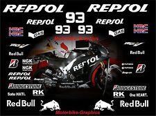 2015 Bicicleta de prueba de Moto GP Repsol Márquez Calcomanías Gráficos Pegatinas Kit Bin