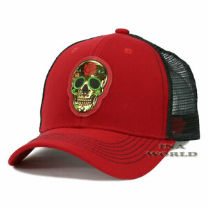 Sugar-Skull-Patched-Hat-Day-of-the-Dead-Pique-Snapback-Mesh-Baseball-Cap-Red