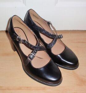 BNIB Clarks womens shoes TARAH PRESLEY black leather heeled shoes size 5.5 EU 39