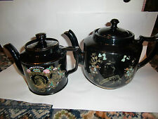 Two Queen Victoria Diamond Jubilee Large Black 'Jacksfield Like' Teapots 1897