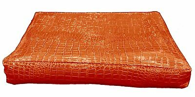 pd1001r Black Round Faux Crocodile Glossy Leather Cushion Cover Custom Size