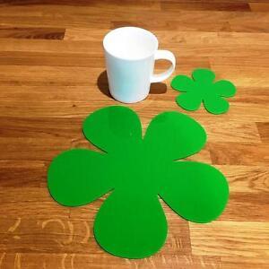 Daisy a forma di finitura lucida brillante verde Acrilico Tovagliette e Sottobicchieri 4, 6 o 8  </span>