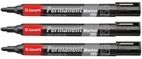 3 x Luxor Permanent Marker 250 Rundspitze schwarz