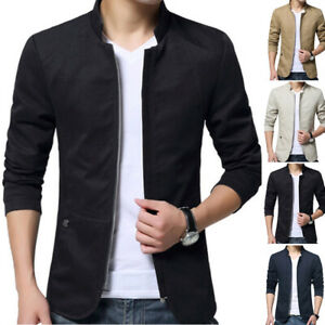 Mens Long sleeve Stand collar Slim fit Jacket Coat Casual Zipper Cotton Outwear