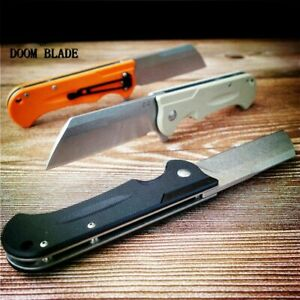 D2-Blade-Ball-Bearing-Knives-G10-Handle-Folding-Knife-Plain-Edge-Survival-EDC